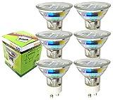 Trango 6er Pack 3.0 Watt LED Leuchtmittel GU10 Lampenfassung 3000 K warm-weiß 6TGGU1025 Glühbirnen/Glühlampen / ersetzen 35 W Halogen Lampen/Reflektorform / 230 Volt