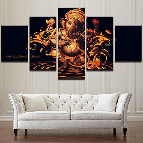 HOMOPK 5 Stücke Malerei Modulare Tapete HD Druck Auf Leinwand Wandkunst Wasserdicht Poster Bad Wohnzimmer Wohnkultur Bild Indien tibetischer Buddhismus Ganesha B,Rahmen