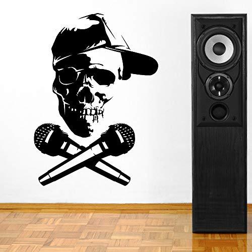 jiuyaomai Persönlichkeit Schädel Mikrofon Vinyl Aufkleber Home Wohnzimmer Wandaufkleber Room Decor Moderne Musik Wandkunst Poster Eine rote 57x80 cm