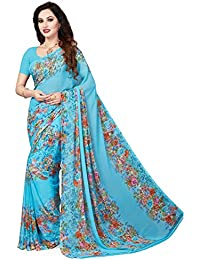 Ishin Faux Georgette Blue Printed Women's Saree/Sari
