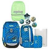 ergobag pack-Set Ranzenset 6-tlg. inkl. Regencape LiBäro 2:0 + Shiny Green