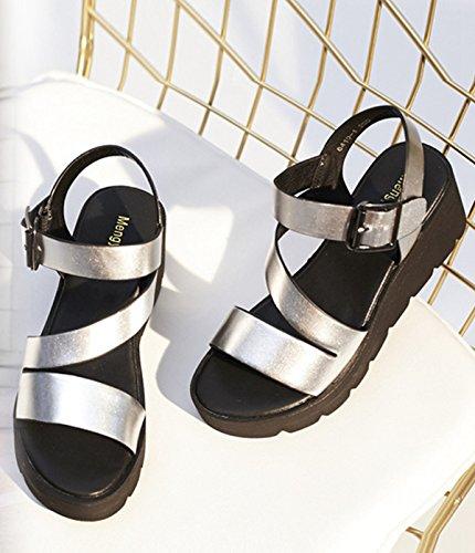 Damen Sandalen Plateau Blockabsatz Metall Offen Rundzehen Flach Knöchelriemchen Sommerlich Freizeit Modisch Schuhe Silber