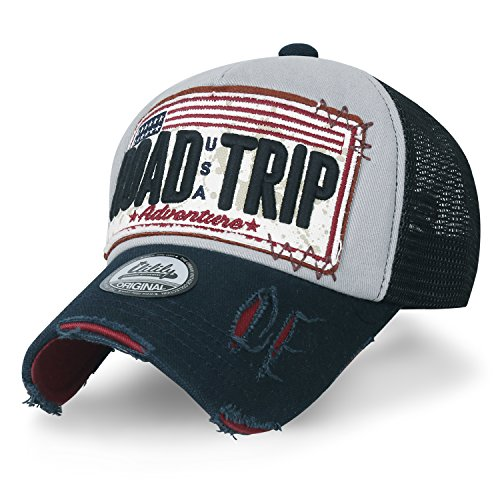 ililily ROAD TRIP Vintage Distressed Snapback Trucker Hat Baseball Cap  Style: classic mesh hat baseball cap with snapback closure  Trim: USA flag & vehicle license plate design ROAD TRIP embroidery in front / enjoy the ride in the back  Brim: vi...