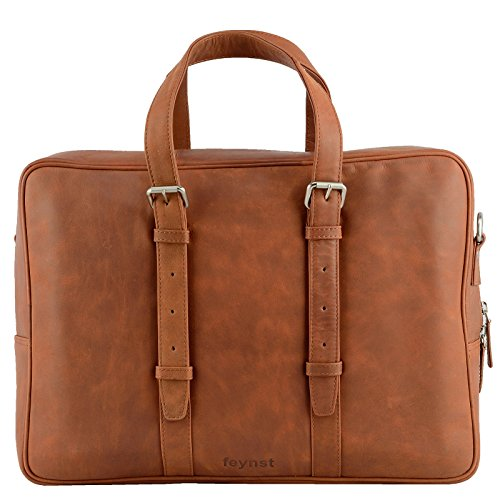 Echt Leder Aktentasche Schultertasche Umhängetasche DIN-A4 Laptoptasche 15,6 Henkeltasche Messenger Bag braun (Tan Aktentasche Leder)