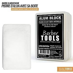 ✮ BARBER TOOLS ✮ Alaunstein 100% natürlich – 100g – mit Aufbewahrungsbox. Aftershave und natürliches Deodorant.