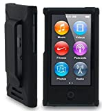 BLACK HARD SHELL CASE COVER WITH BELT CLIP HOLSTER FOR APPLE iPOD NANO
