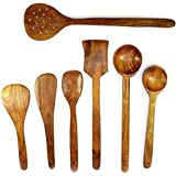 Azeem Arts Handmade Wooden Serving And Cooking Spoon Kitchen Utensil Set Of 7