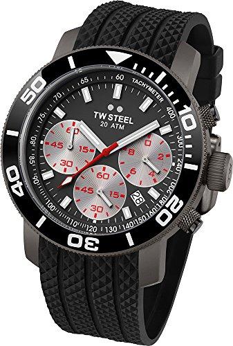 Grandeur Diver TW Steel Unisex Quarzuhr mit Grau Dial Chronograph Anzeige und Schwarz-Silikon-Bügel TW704