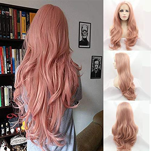 24 'Mixed Peach Pink Natürliche Welle Synthetische Lace Front Perücken Mittelscheitel 180% Dichte Gluelss Hitzebeständige Faser Haar für Frau Peach Pink Lace