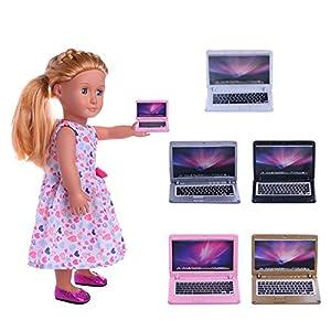 mxjeeio Laptop, Spielzeugnotizbuchmodell, pädagogische Spielwaren Für 18 Zoll American Girl Puppen 14*15CM