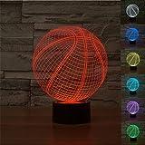 3D Optical Illusion Lampe LED Nachtlichter,KINGCOO 7 Farben ändern Touch LED Lampe Romantische Atmosphäre für Haus Dekoration Hochzeit Geburtstag Weihnachten Valentine Geschenk (Basketball)