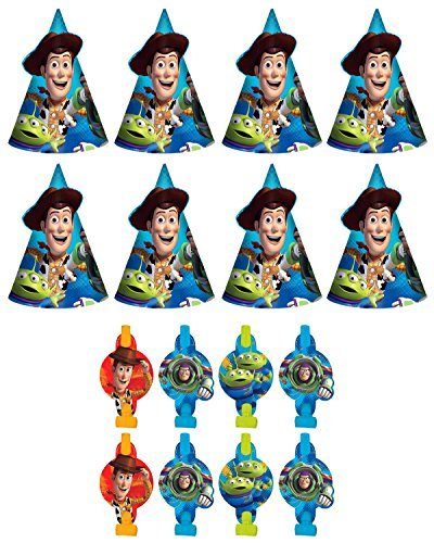 Story Birthday Party Favors Pack Including Blowouts, and Party Cone Hats - 8 Guests by Disney ()