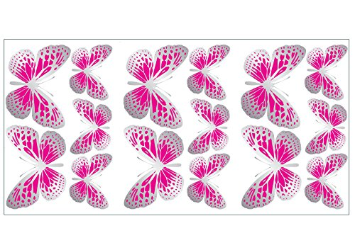 Fun4walls - Decorazioni adesive da parete, motivo: farfalle, colore: rosa