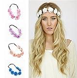Hengsong Mischfarbe Blumenkranz Blumenkrone Festival Hochzeit Haarkranz Kopfband Boho Blumenstirnband Haarband