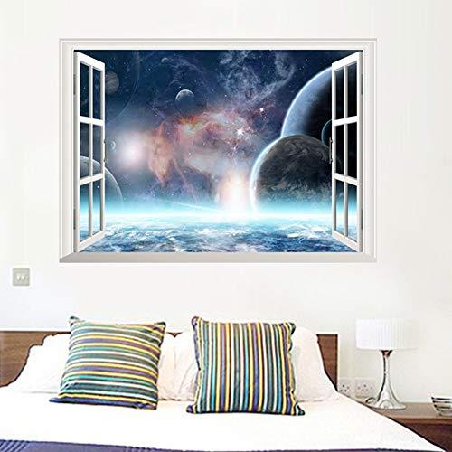 Xcao Weltraum Planet Fenster Galaxy Star Wandaufkleber Aufkleber Boy Schlafzimmer Wohnzimmer Dekoration
