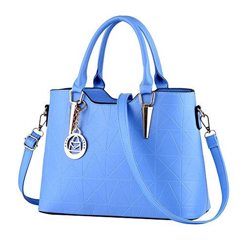 Moda Borse Donna Messenger Bag Borse in Pelle Tote Borsa Style Borsetta Azzurro