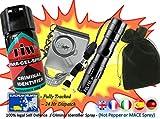 Kit d'auto-défense - Vaporisateur de défense en gel, alarme d'urgence, mini lampe de poche 3W et pochette de transport