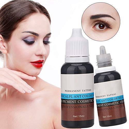 51kVdSUniSL - Tinta del Tatuaje,Qkiss 15 ml Pigmento Profesional Eyebrin Lip Eyeliner Tattoo Plant Pigmento Pigmento permanente Tinta Maquillaje Tinta Maquillaje Herramienta(Marron oscuro) (Negro)
