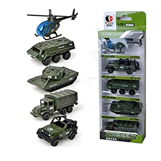 AmaMary 5 Pcs 1:72 Sliding Alloy Engineering Car Model Educational Toys for Children (army green)