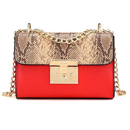 SMILEQ Frauen Tasche Kette Umhängetaschen Handtaschen Messenger Bags (Rot) -