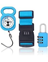 Jet Lag - Coffret de voyage 3 pièces: 1 Pèse-bagage avec mètre ruban intégré + 1 Sangle de sécurité 180 cm à code + 1 Cadenas à combinaison (Bleu)