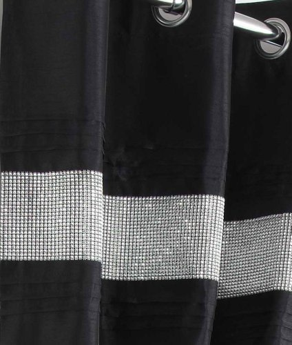 BLACK & SILVER DIAMANTE LINED CURTAINS WITH EYELET RING TOP 46 x 72