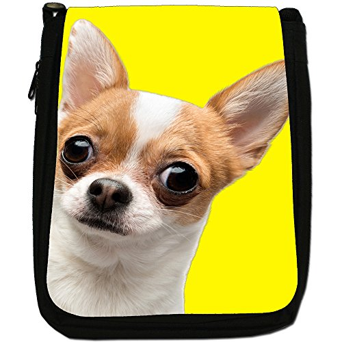 Ultra Cute Chihuahua Close Up Medium Nero Borsa In Tela, taglia M Yellow Background Chihuahua