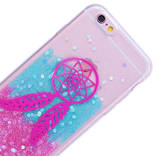 HB-Int Hülle für iPhone 6 Plus / 6S Plus Silikon Transparent Case Bling Glitter Schutzhülle mit Glänzend Pailletten Bumper Cover Durchsichtig Handytasche - Silber Eiffelturm Traumfänger