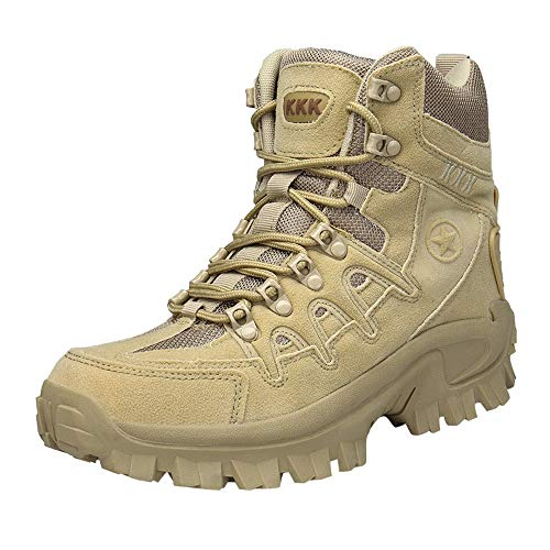Elecenty Scarponi tattici degli uomini di sport Desert Outdoor Hiking Leather Boots Combat Shoes Stivali