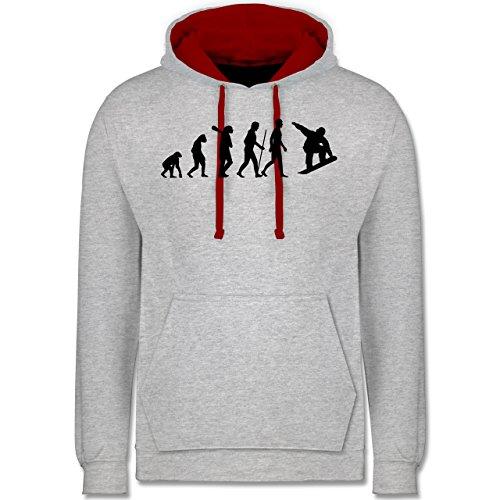 Evolution - Snowboard Evolution - Kontrast Hoodie Grau Meliert/Rot