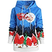 BBestseller Sudadera con Capucha Casual Cuello Redondo Navidad Impresión Party Sweatshirt Larga para Pullover Jersey Tops