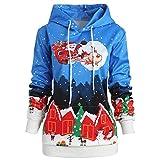 Damen Weihnachten Kapuzen Pullover Snowflake Print Bluse Santa Claus Bluse Xmas Tops Jumper Bluse(Blau,EU-38/CN-M)