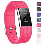 Fundro Fitbit Charge 2bandes de sangle, TPU souple de remplacement accessoire de sangles de poignet Band Bracelet pour Fitbit Charge 2Smart Watch tracker de fitness, sport, sangle de poignet pour homme ou femme Petite Grande, rose vif, Small 5.7'-7.8'