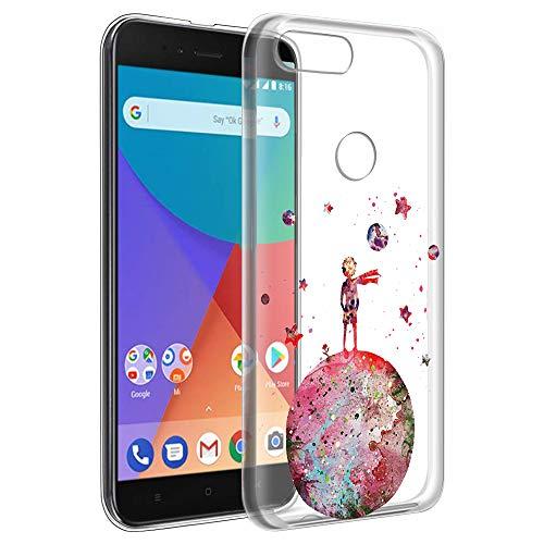 YOEDGE Funda Xiaomi Mi A1 Ultra Slim Cárcasa Silicona Transparente con Dibujos Animados Diseño Patrón [El Principito] Resistente Bumper Case Cover para Xiaomi Mi A1 Smartphone(Rojo)