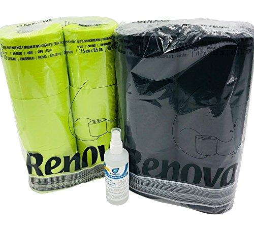 Farbiges schwarzes und grünes Luxus Klopapier von Renova mit Test Bio Reiniger von Kaiserrein