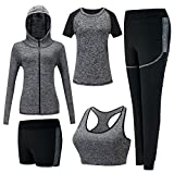 Damen Sportsuit Set, Lauf Jogging Trainingsanzug Gym Fitness Outfit Trainings Sweatsuit 5 Stück Set