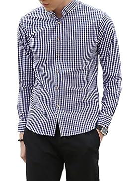 Yieks Herren Hemd Trachtenhemd Langarm Regular Fit Kariert aus Baumwolle