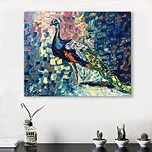 d668aca8d4 YCOLLC Lienzo de Pintura Arte Abstracto Moderno Pintura Animal Colorido  Pavo Real decoración para el hogar