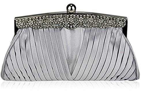 TrendStar Frauen Kupplungs Taschen Damen Kristall Abend Abschlussball Partei Hochzeit Taschen Silber 1