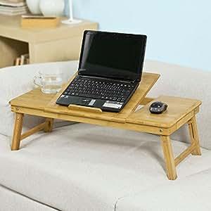 SoBuy FBT04-L-N Laptoptisch aus hochwertigem Bambus,mit 2 Jahren Garantie,auch für Linkshänder, (Natur, 35x72cm)
