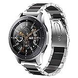 Sundaree Correa Galaxy Watch 46MM,22MM Metal Acero Inoxidable Reemplazo Correa Banda Pulsera de Repuesto Correa para Samsung Galaxy Watch 46MM SM-R800/Gear S3 Classic/Gear S3 Frontier(Plata+Negro)