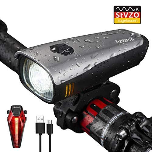 Preisvergleich Produktbild Antimi LED Fahrradlicht Set, StVZO Zugelassen USB Wiederaufladbar Fahrradbeleuchtung Set mit IPX5 Wasserdicht Frontlicht & Rücklichter, Fahrradlampe mit Samsung 2600mAh Li-ion Akku