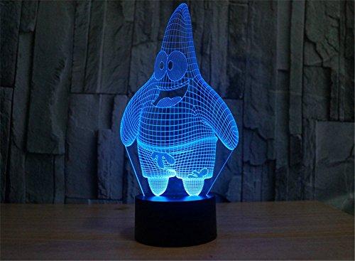 SmartEra® USB Powered 7 Farben Erstaunlich SpongeBob Freunde Patrick Star optische Täuschung 3D Glow LED Lampen Art Skulptur produziert einzigartige (Patrick Spongebob Und)