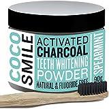 CHARBON ACTIF : Poudre de blanchiment des dents au charbon actif ( activated charcoal teeth whitening ) naturel par cocosmile | avec la brosse à dents en bambou | Fabriqué au Royaume-Uni