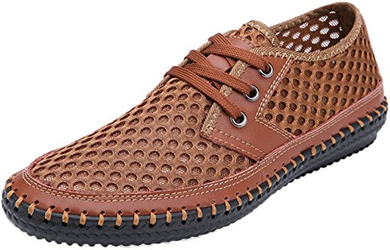 MYXUA Herren Outdoor Schuhe Wanderschuhe Breathable Light Bequeme Mesh Schuhe weisshe Spitze Sportschuhe