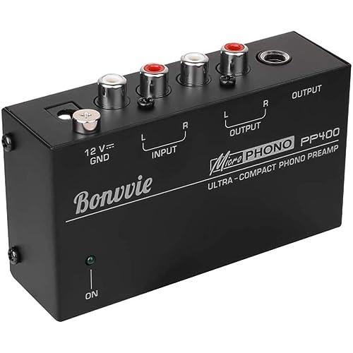 Bonvvie PP400 preamplificatore phono per giradischi con interfaccia TRS, ingresso RCA per giradischi in vinile compatibile con giradischi come Audio Technica, Crosley, Jensen, Pioneer, 1byone
