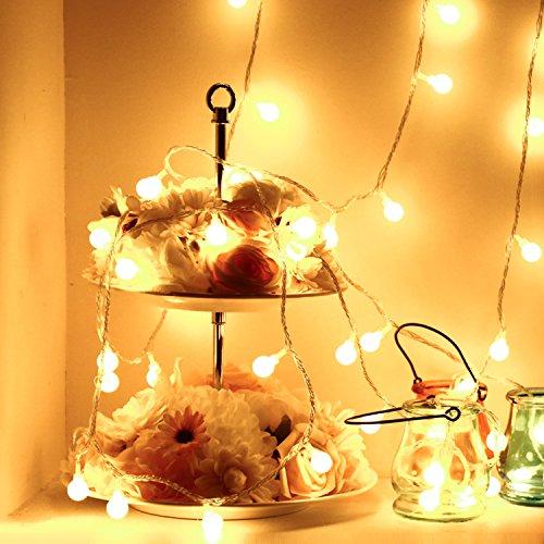 Guirlande batterie 50 LED Globe Boule lumières pour arbres de Noël, Thanksgiving, jardin, Halloween, décoration Intérieur ou extérieur Décoration de fête d'anniversaire de mariage (Blanc chaud)