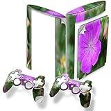 Fleur Pourpre, Autocollant Skin Peau Vinyl avec Motifs Colorés et Effet de Cuir pour PlayStation 3 Super Slim