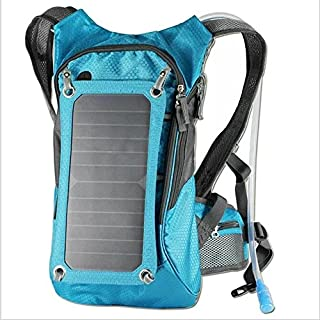 Ergonomic Solar Charger Backpack (7W), Hydration Pack Backpack (2L Bladder Bag), With Removable Solar Panel Charging for iPhone 6 plus 5s 5c 5 4s 4, ipad mini, Samsung Galaxy S5 S4 S3, Blackberry and Other USB Compatible Devices (Blue)