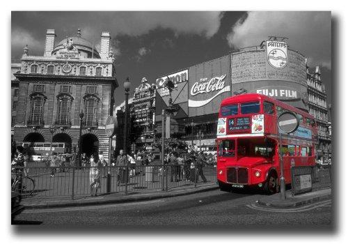 Circus Leinwand (DagaCanvas Kunstdruck auf Leinwand, circa 30x41cm, gerahmt, aufhängfertig, Motiv London Piccadilly Circus Buses)